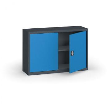 Kovová skříň  800x1200x400 mm, antracit/modrá, 60 kg na polici