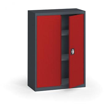 Kovová skříň 1150x 800x400 mm, antracit/červená, 60 kg na polici