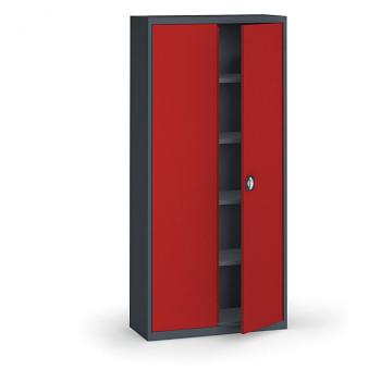 Kovová skříň 1950x 950x400 mm, antracit/červená, 60 kg na polici