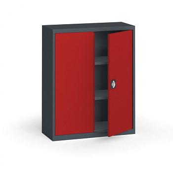 Kovová skříň 1150x 950x400 mm, antracit/červená, 60 kg na polici