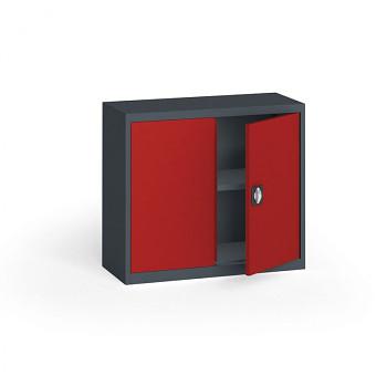 Kovová skříň  800x 950x400 mm, antracit/červená, 60 kg na polici