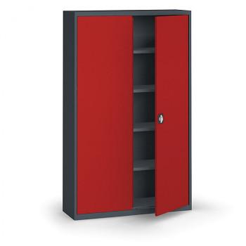 Kovová skříň 1950x1200x400 mm, antracit/červená, 60 kg na polici