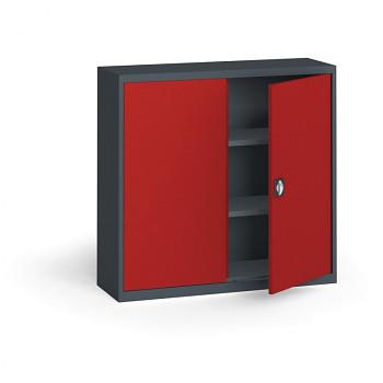 Kovová skříň 1150x1200x400 mm, antracit/červená, 60 kg na polici