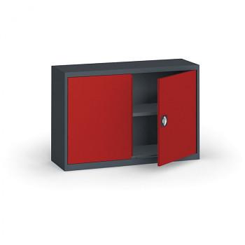 Kovová skříň  800x1200x400 mm, antracit/červená, 60 kg na polici