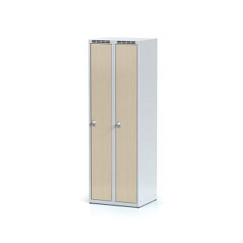 Šatní skříň, bez podnože, svařovaná,  2x bříza dv./korp. šedá, zámek otočný