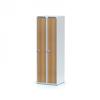 Šatní skříň, bez podnože, svařovaná,  2x buk dv./korp. šedá, zámek otočný