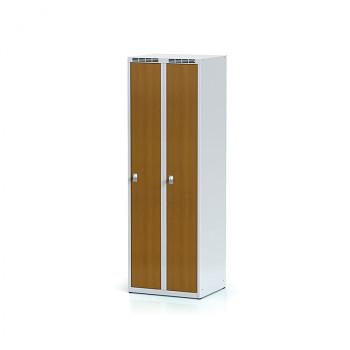 Šatní skříň, bez podnože, svařovaná,  2x třešeň dv./korp. šedá, zámek otočný