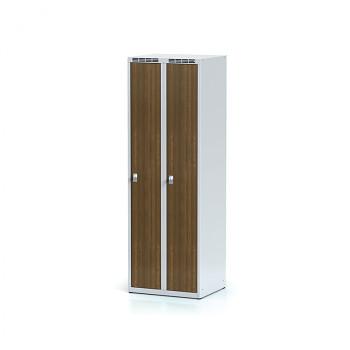 Šatní skříň, bez podnože, svařovaná,  2x ořech dv./korp. šedá, zámek otočný