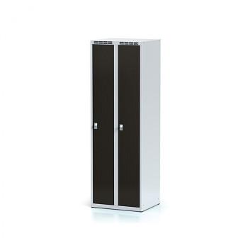 Šatní skříň, bez podnože, svařovaná,  2x wenge dv./korp. šedá, zámek cylindrický