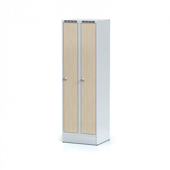 Šatní skříň, sokl, svařovaná,  2x bříza dv./korp. šedá, zámek cylindrický