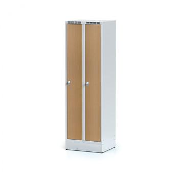 Šatní skříň, sokl, svařovaná,  2x buk dv./korp. šedá, zámek cylindrický