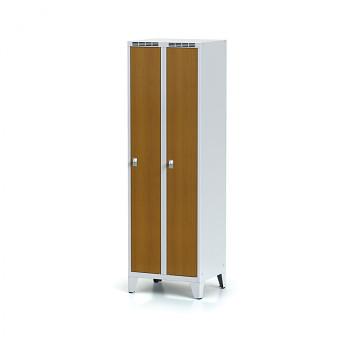 Šatní skříň, nožky, svařovaná,  2x třešeň dv./korp. šedá, zámek cylindrický