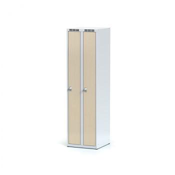 Šatní skříň, bez podnože, svařovaná,  2x bříza dv./korp. šedá, zámek cylindrický, úzká