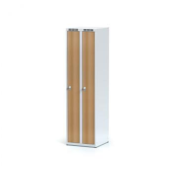 Šatní skříň, bez podnože, svařovaná,  2x buk dv./korp. šedá, zámek otočný, úzká