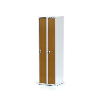 Šatní skříň, bez podnože, svařovaná,  2x třešeň dv./korp. šedá, zámek cylindrický, úzká