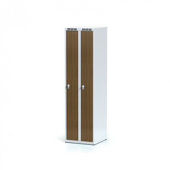 Šatní skříň, bez podnože, svařovaná,  2x ořech dv./korp. šedá, zámek cylindrický, úzká