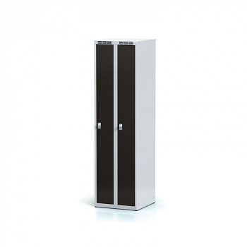 Šatní skříň, bez podnože, svařovaná,  2x wenge dv./korp. šedá, zámek otočný, úzká