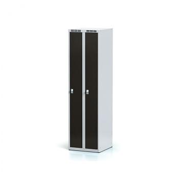 Šatní skříň, bez podnože, svařovaná,  2x wenge dv./korp. šedá, zámek cylindrický, úzká