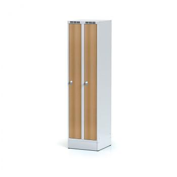 Šatní skříň, sokl, svařovaná,  2x buk LTD dv./korp. šedá, zámek cylindrický, úzká