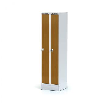Šatní skříň, sokl, svařovaná,  2x třešeň dv./korp. šedá, zámek cylindrický, úzká