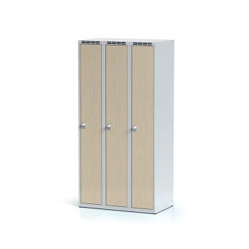 Šatní skříň, bez podnože, svařovaná,  3x bříza dv./korp. šedá, zámek cylindrický