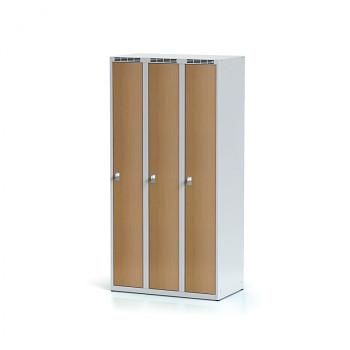 Šatní skříň, bez podnože, svařovaná,  3x buk dv./korp. šedá, zámek cylindrický