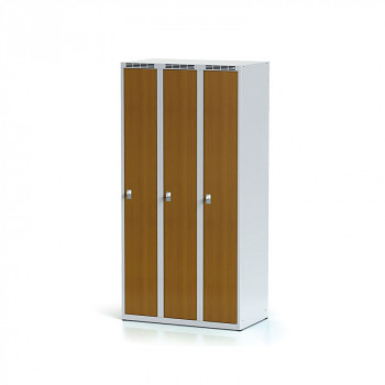 Šatní skříň, bez podnože, svařovaná,  3x třešeň dv./korp. šedá, zámek otočný
