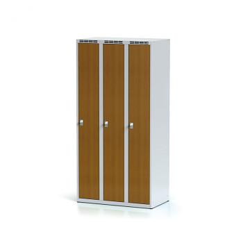 Šatní skříň, bez podnože, svařovaná,  3x třešeň dv./korp. šedá, zámek cylindrický