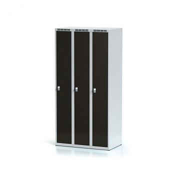 Šatní skříň, bez podnože, svařovaná,  3x wenge dv./korp. šedá, zámek cylindrický