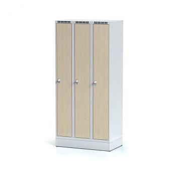 Šatní skříň, sokl, svařovaná,  3x bříza dv./korp. šedá, zámek cylindrický