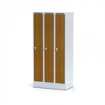 Šatní skříň, sokl, svařovaná,  3x třešeň dv./korp. šedá, zámek cylindrický