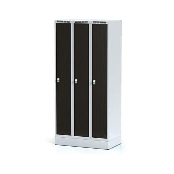 Šatní skříň, sokl, svařovaná,  3x wenge dv./korp. šedá, zámek cylindrický