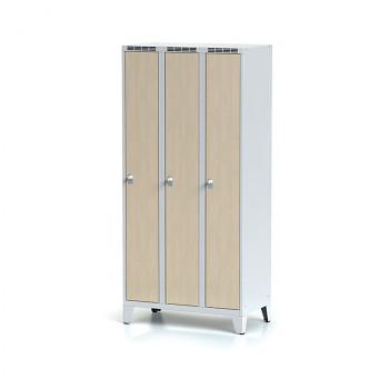 Šatní skříň, nožky, svařovaná,  3x bříza dv./korp. šedá, zámek cylindrický