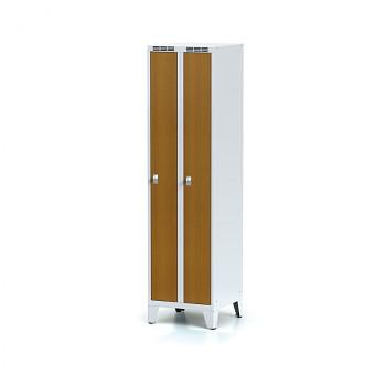 Šatní skříň, nožky, svařovaná,  2x třešeň dv./korp. šedá, zámek cylindrický, úzká