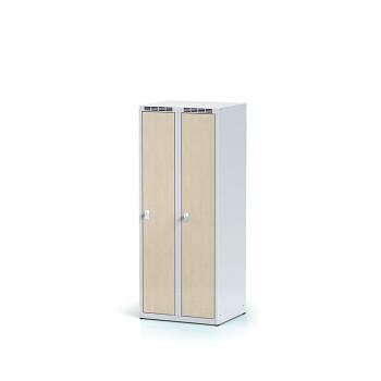 Šatní skříň, bez podnože, svařovaná,  2x bříza dv./korp. šedá, zámek cylindrický, nízká