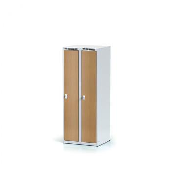 Šatní skříň, bez podnože, svařovaná,  2x buk dv./korp. šedá, zámek otočný, nízká