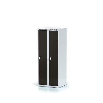 Šatní skříň, bez podnože, svařovaná,  2x wenge dv./korp. šedá, zámek otočný, nízká
