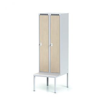 Šatní skříň, lavička, svařovaná,  2x bříza dv./korp. šedá, zámek otočný