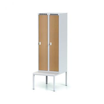 Šatní skříň, lavička, svařovaná,  2x buk dv./korp. šedá, zámek otočný