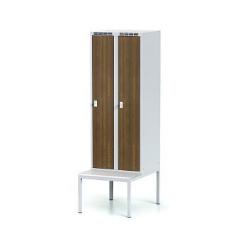 Šatní skříň, lavička, svařovaná,  2x ořech dv./korp. šedá, zámek cylindrický