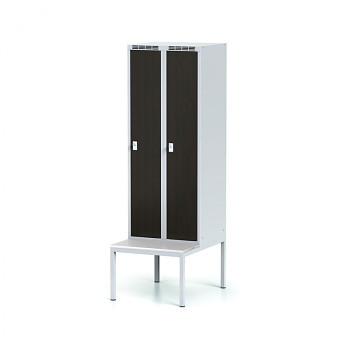 Šatní skříň, lavička, svařovaná,  2x wenge dv./korp. šedá, zámek cylindrický