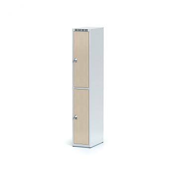 Šatní skříň boxová, bez podnože, svařovaná,  2x bříza dv./korp. šedá, zámek otočný, I