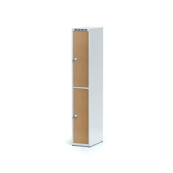 Šatní skříň boxová, bez podnože, svařovaná,  2x buk dv./korp. šedá, zámek cylindrický, I