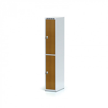 Šatní skříň boxová, bez podnože, svařovaná,  2x třešeň dv./korp. šedá, zámek otočný, I