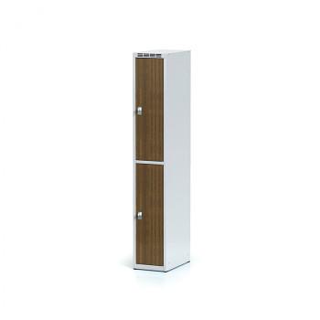 Šatní skříň boxová, bez podnože, svařovaná,  2x ořech dv./korp. šedá, zámek cylindrický, I