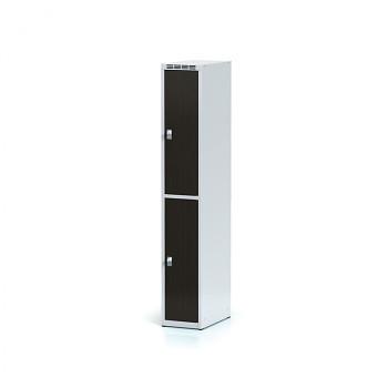 Šatní skříň boxová, bez podnože, svařovaná,  2x wenge dv./korp. šedá, zámek cylindrický, I