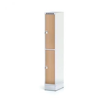 Šatní skříň boxová, sokl, svařovaná,  2x buk dv./korp. šedá, zámek cylindrický