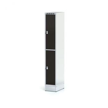 Šatní skříň boxová, sokl, svařovaná,  2x wenge dv./korp. šedá, zámek cylindrický