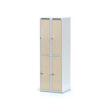 Šatní skříň boxová, bez podnože, svařovaná,  4x bříza dv./korp. šedá, zámek cylindrický, II