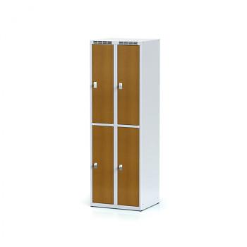 Šatní skříň boxová, bez podnože, svařovaná,  4x třešeň dv./korp. šedá, zámek otočný, II